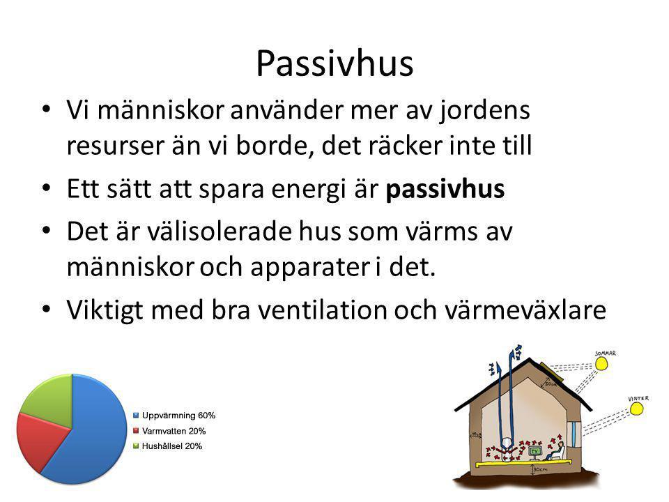 Passivhus Vi människor använder mer av jordens resurser än vi borde, det räcker inte till. Ett sätt att spara energi är passivhus.