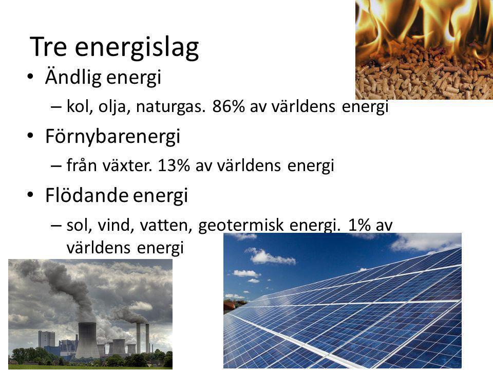 Tre energislag Ändlig energi Förnybarenergi Flödande energi