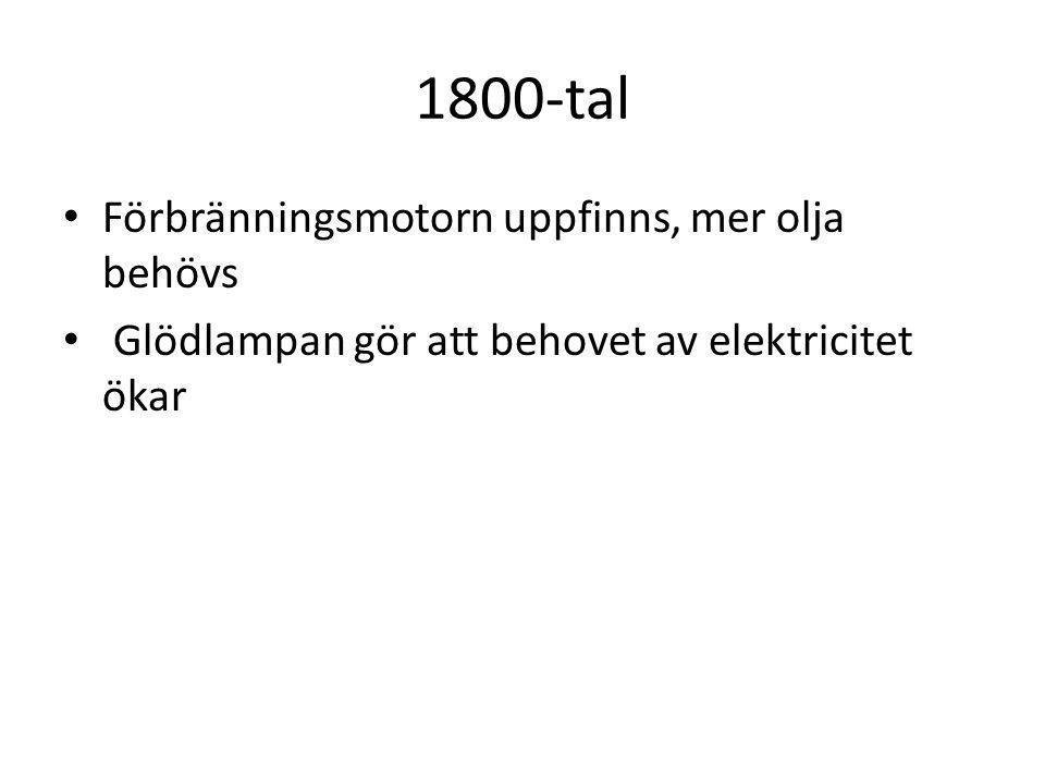 1800-tal Förbränningsmotorn uppfinns, mer olja behövs