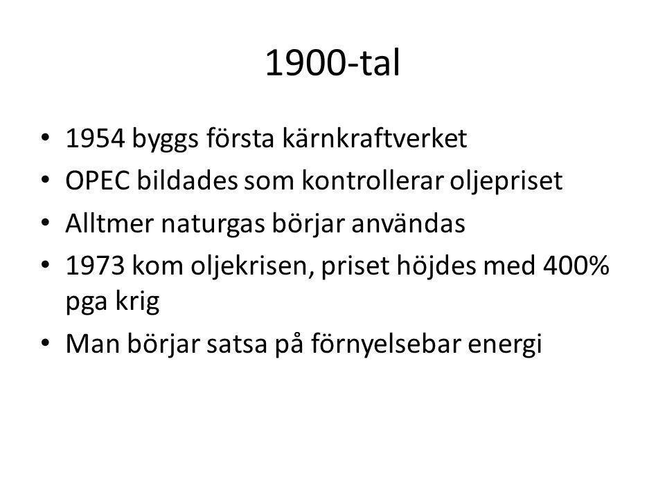 1900-tal 1954 byggs första kärnkraftverket