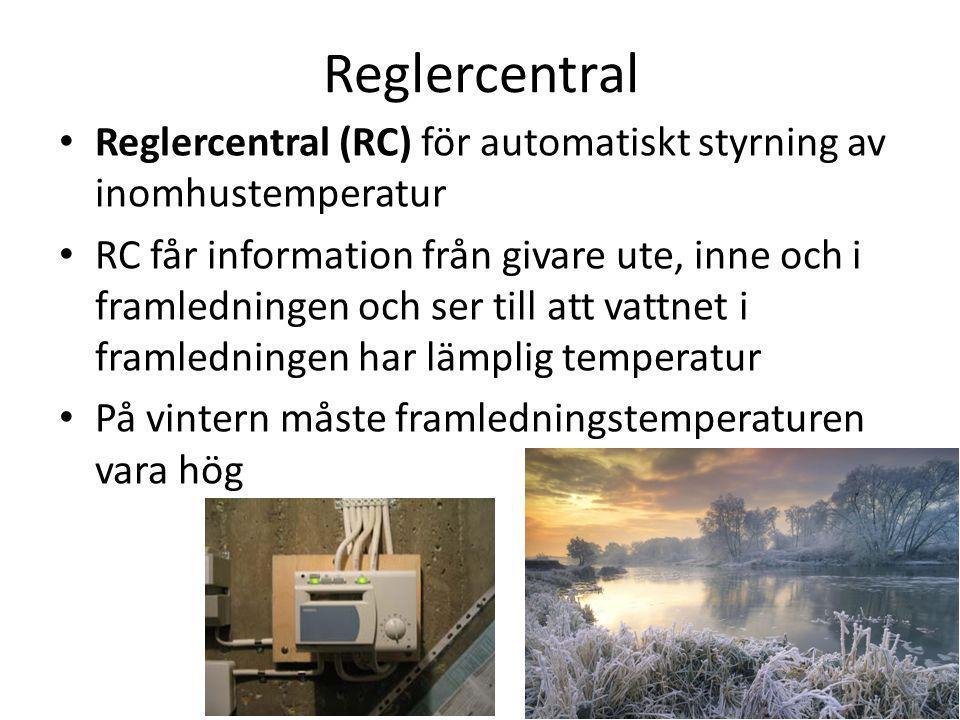 Reglercentral Reglercentral (RC) för automatiskt styrning av inomhustemperatur.