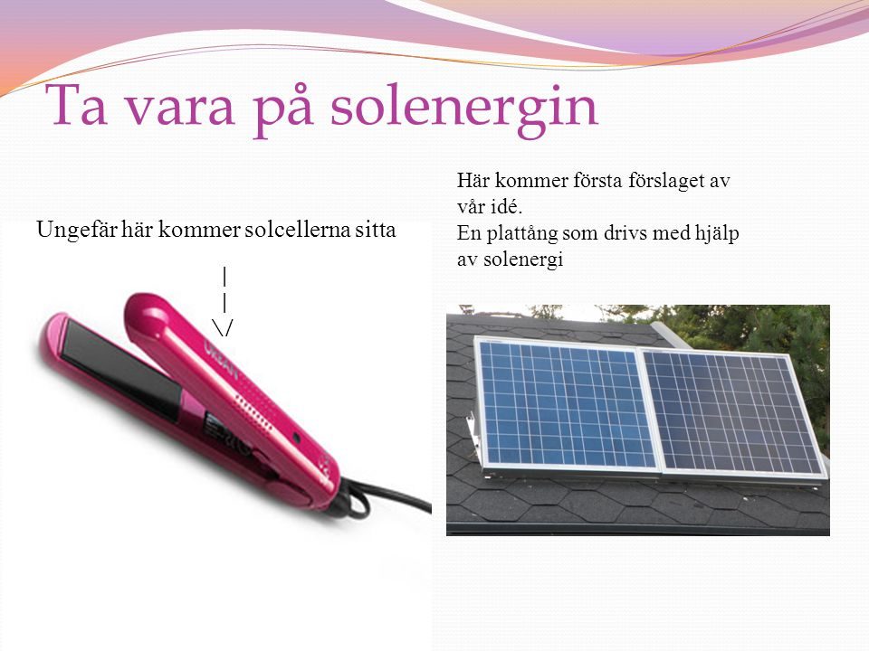 Ta vara på solenergin Ungefär här kommer solcellerna sitta