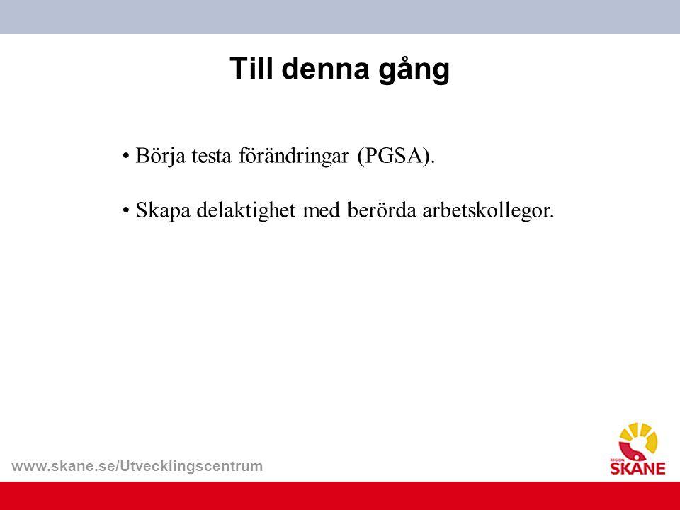 Till denna gång Börja testa förändringar (PGSA).