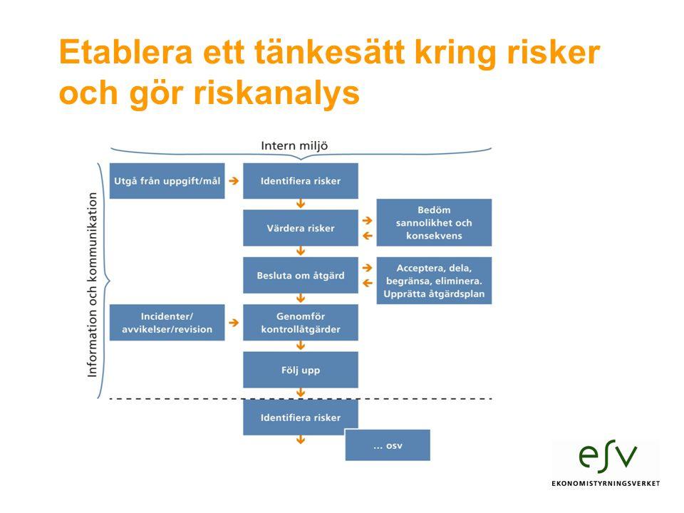 Etablera ett tänkesätt kring risker och gör riskanalys