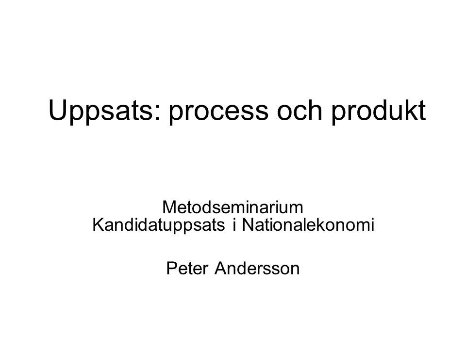 Uppsats: process och produkt