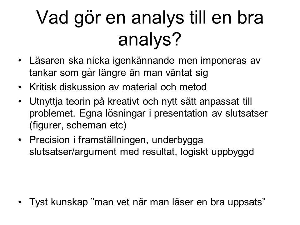 Vad gör en analys till en bra analys