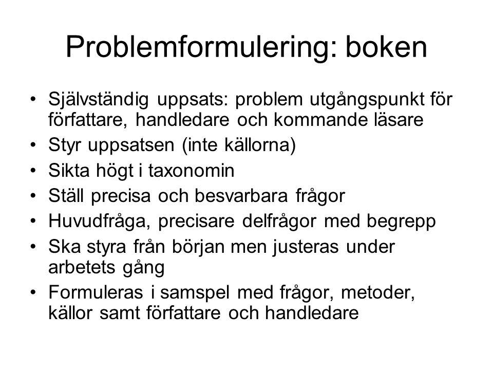 Problemformulering: boken