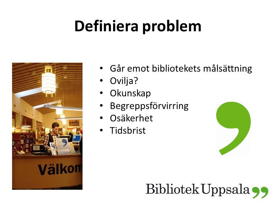 Definiera problem Går emot bibliotekets målsättning Ovilja Okunskap