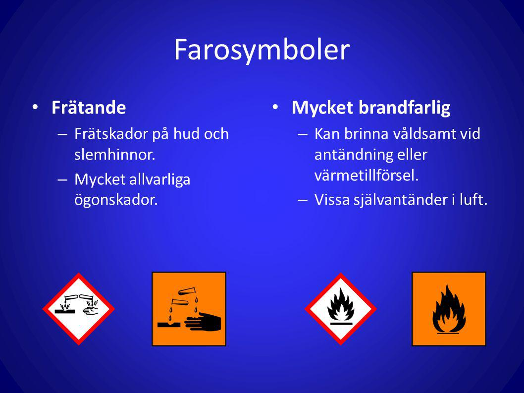 Farosymboler Frätande Mycket brandfarlig