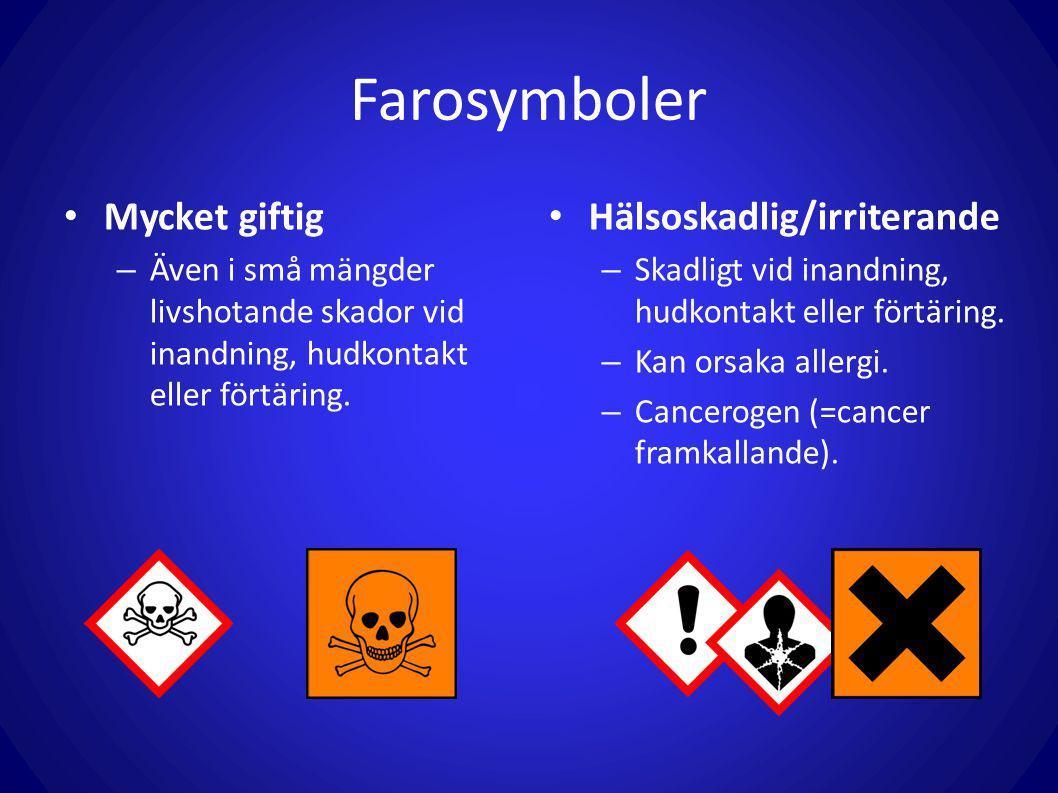 Farosymboler Mycket giftig Hälsoskadlig/irriterande