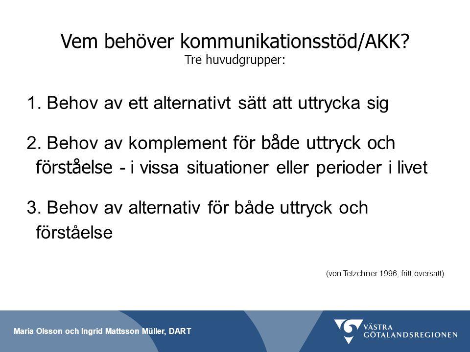 Vem behöver kommunikationsstöd/AKK Tre huvudgrupper: