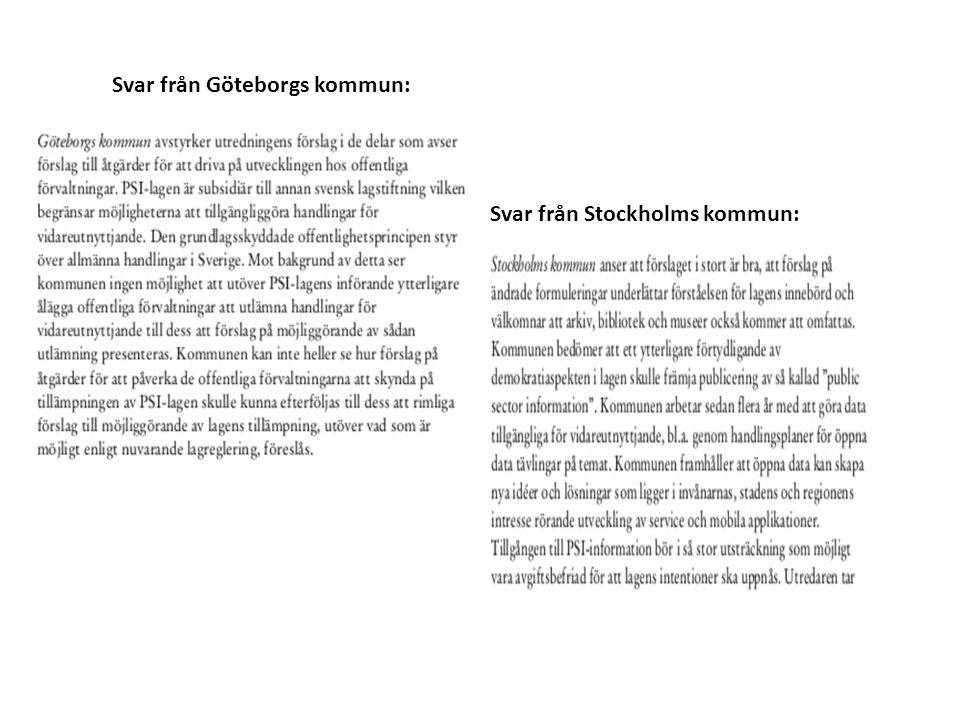 Svar från Göteborgs kommun: