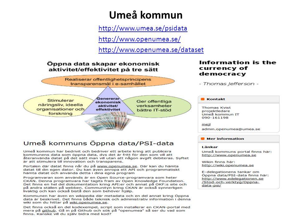Umeå kommun http://www.umea.se/psidata http://www.openumea.se/