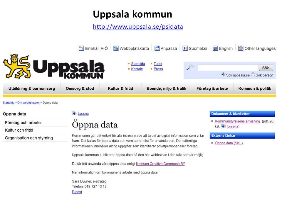 Uppsala kommun http://www.uppsala.se/psidata
