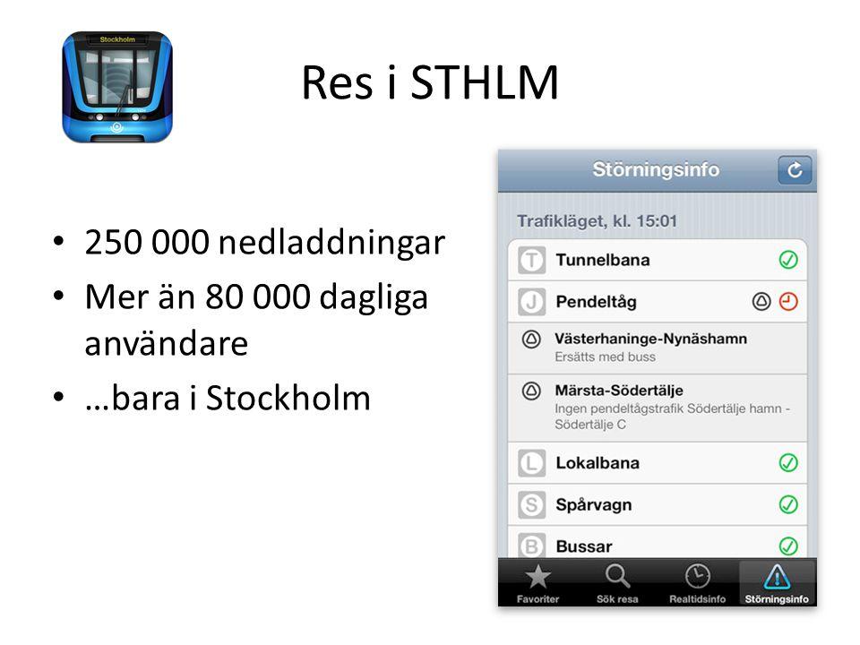 Res i STHLM 250 000 nedladdningar Mer än 80 000 dagliga användare