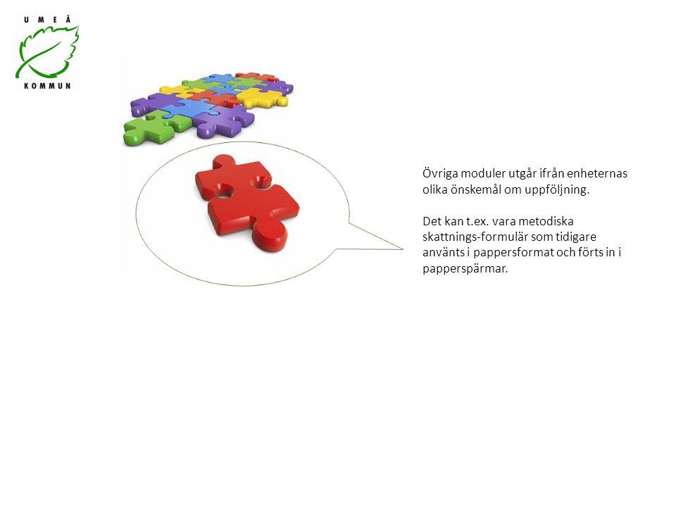 Övriga moduler utgår ifrån enheternas olika önskemål om uppföljning.