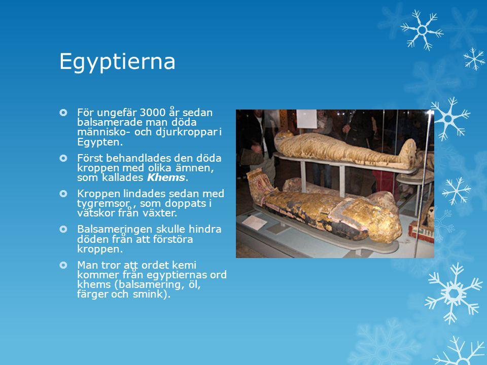 Egyptierna För ungefär 3000 år sedan balsamerade man döda människo- och djurkroppar i Egypten.
