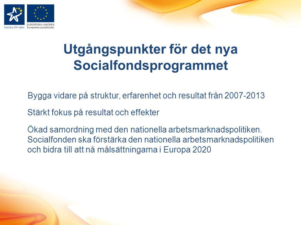 Utgångspunkter för det nya Socialfondsprogrammet