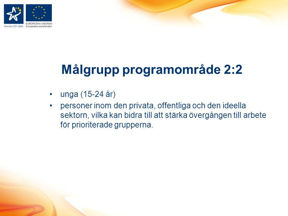 Målgrupp programområde 2:2