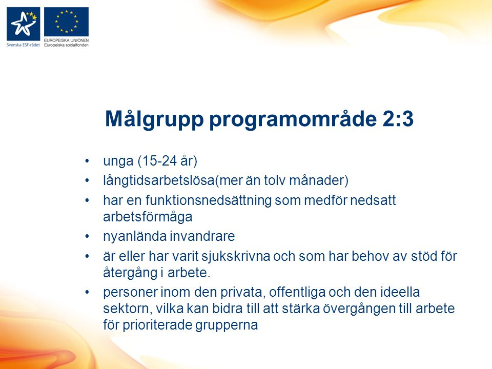 Målgrupp programområde 2:3