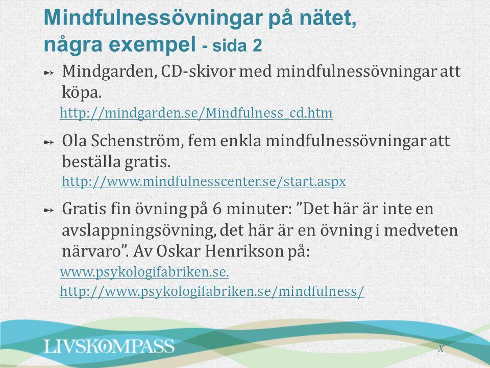 Mindfulnessövningar på nätet, några exempel - sida 2
