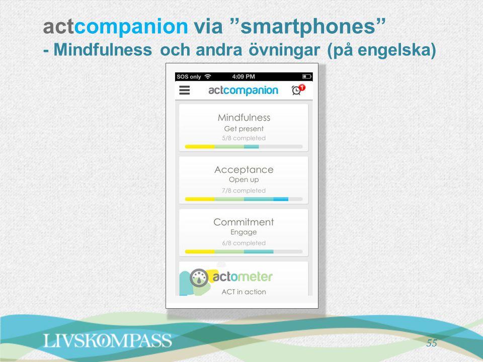 actcompanion via smartphones - Mindfulness och andra övningar (på engelska)