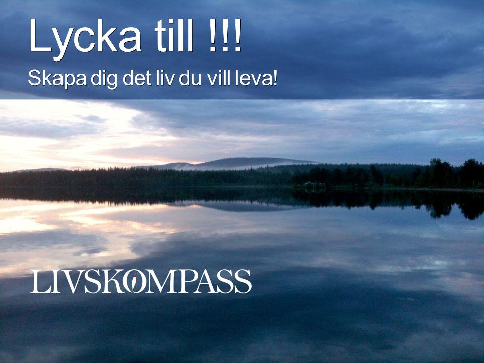 Lycka till !!! Skapa dig det liv du vill leva!