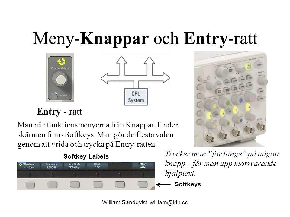 Meny-Knappar och Entry-ratt