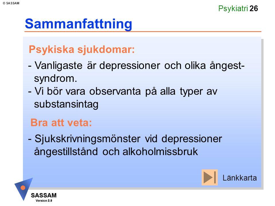 Sammanfattning Psykiska sjukdomar: