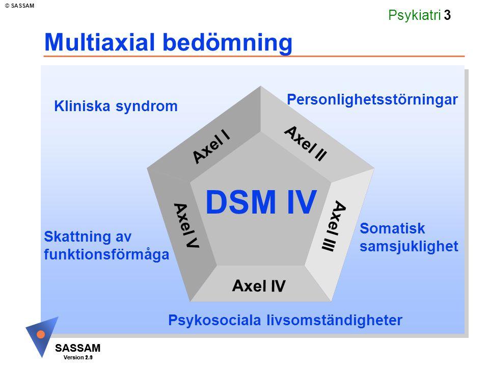 DSM IV Multiaxial bedömning Axel I Axel II Axel V Axel III Axel IV