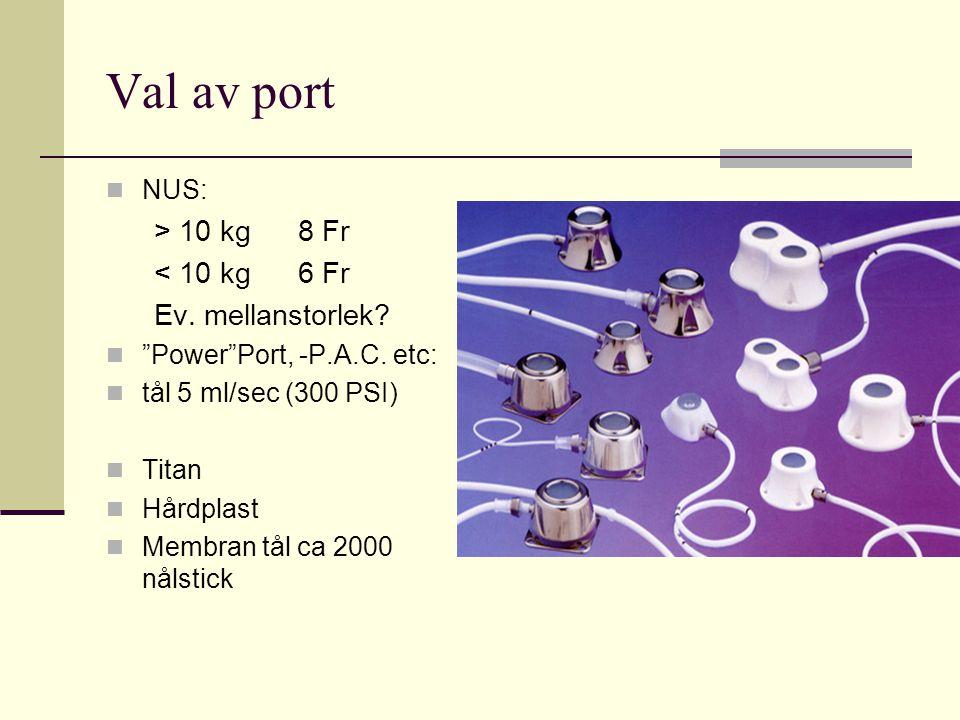 Val av port > 10 kg 8 Fr < 10 kg 6 Fr Ev. mellanstorlek NUS: