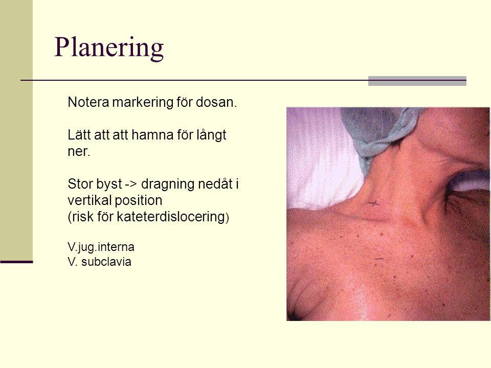 Planering Notera markering för dosan.