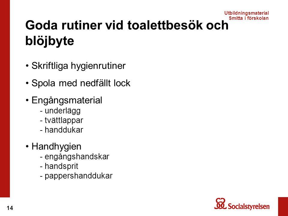 Goda rutiner vid toalettbesök och blöjbyte