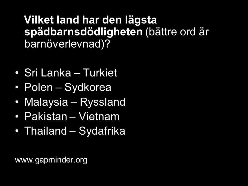 Vilket land har den lägsta spädbarnsdödligheten (bättre ord är barnöverlevnad)