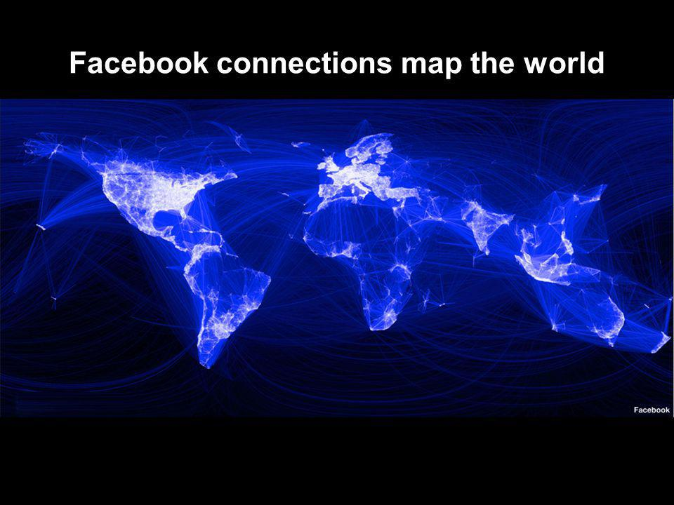 Facebook connections map the world