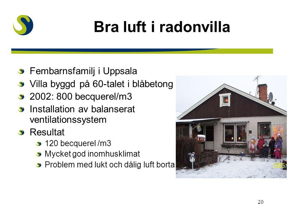 Bra luft i radonvilla Fembarnsfamilj i Uppsala