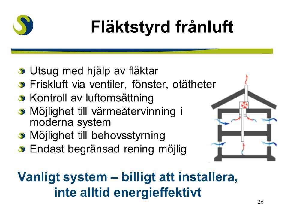 Vanligt system – billigt att installera, inte alltid energieffektivt