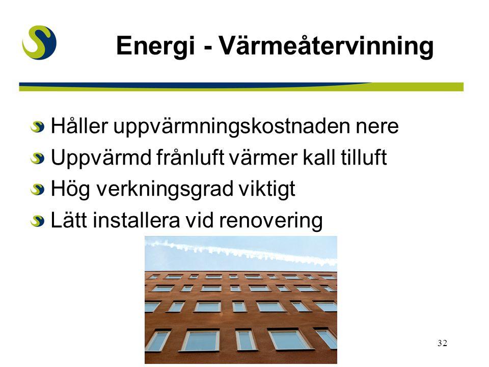 Energi - Värmeåtervinning