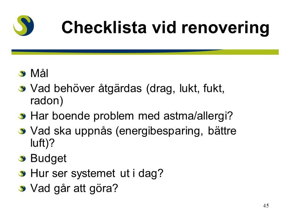 Checklista vid renovering