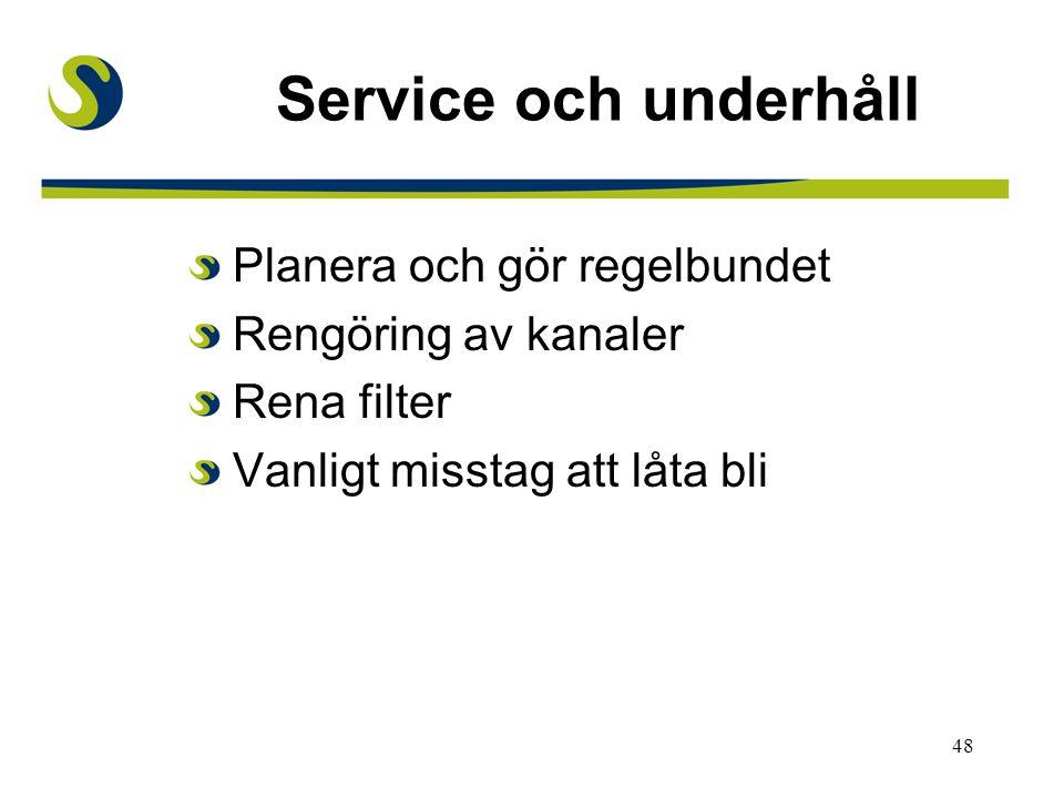 Service och underhåll Planera och gör regelbundet Rengöring av kanaler