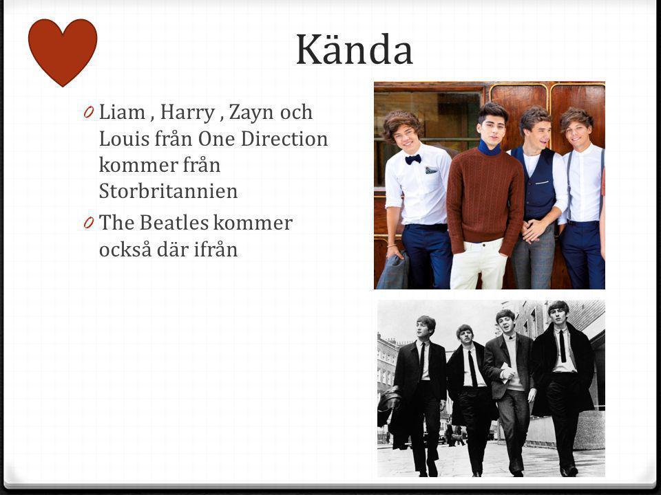 Kända Liam , Harry , Zayn och Louis från One Direction kommer från Storbritannien.