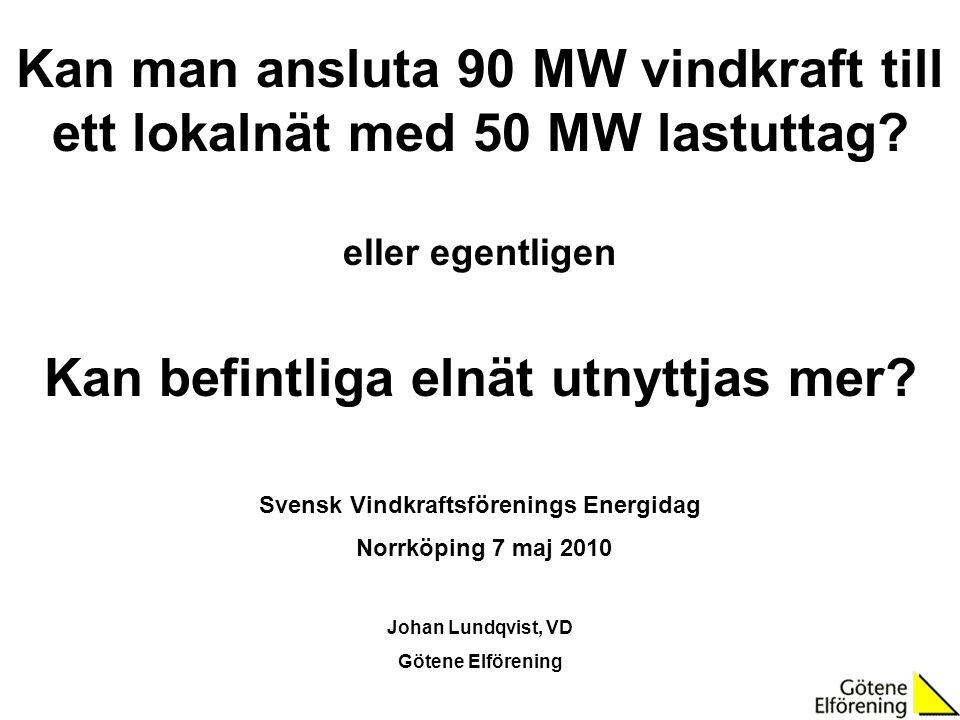 Kan man ansluta 90 MW vindkraft till ett lokalnät med 50 MW lastuttag