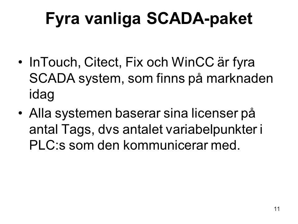 Fyra vanliga SCADA-paket