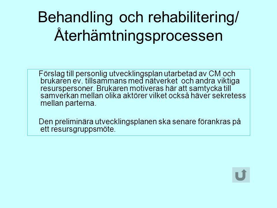 Behandling och rehabilitering/ Återhämtningsprocessen