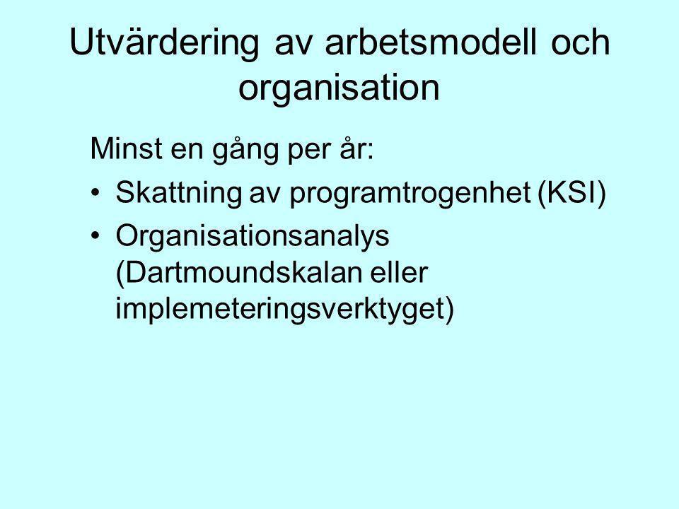 Utvärdering av arbetsmodell och organisation