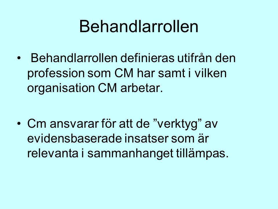 Behandlarrollen Behandlarrollen definieras utifrån den profession som CM har samt i vilken organisation CM arbetar.