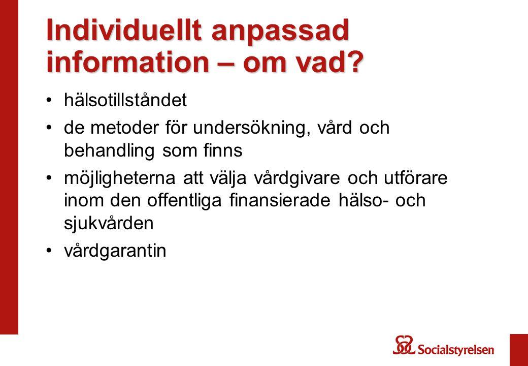 Individuellt anpassad information – om vad
