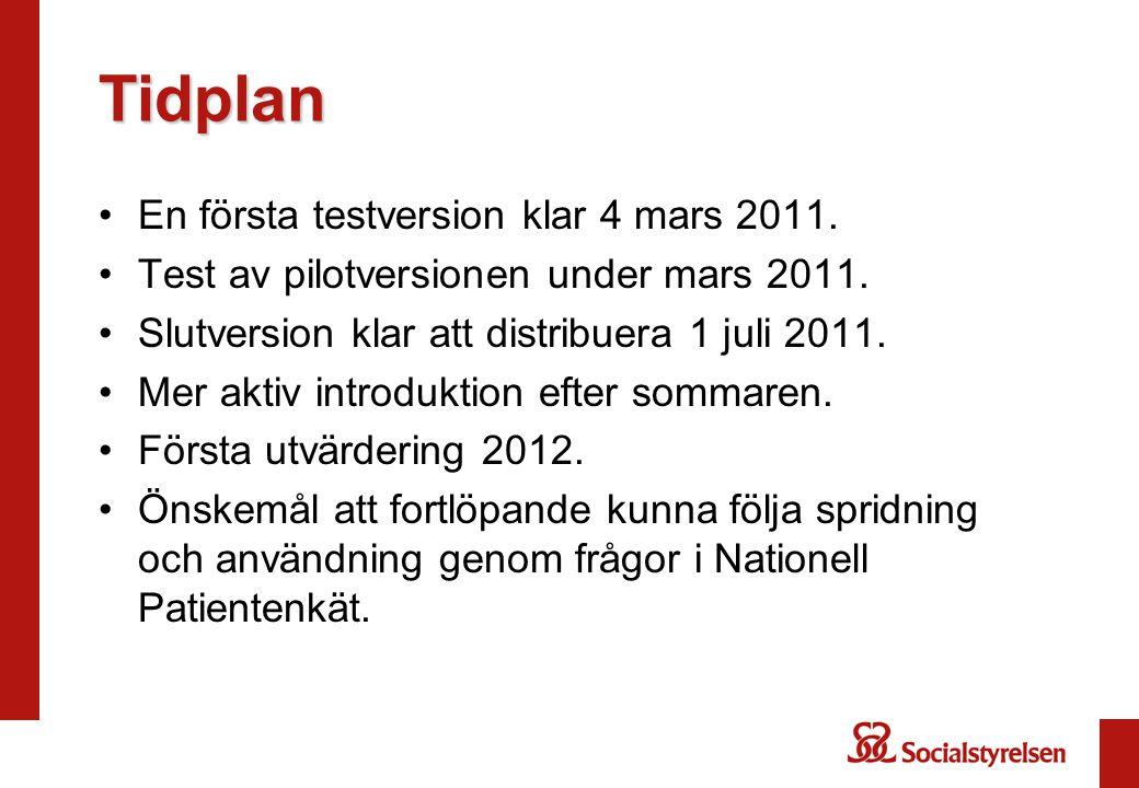 Tidplan En första testversion klar 4 mars 2011.