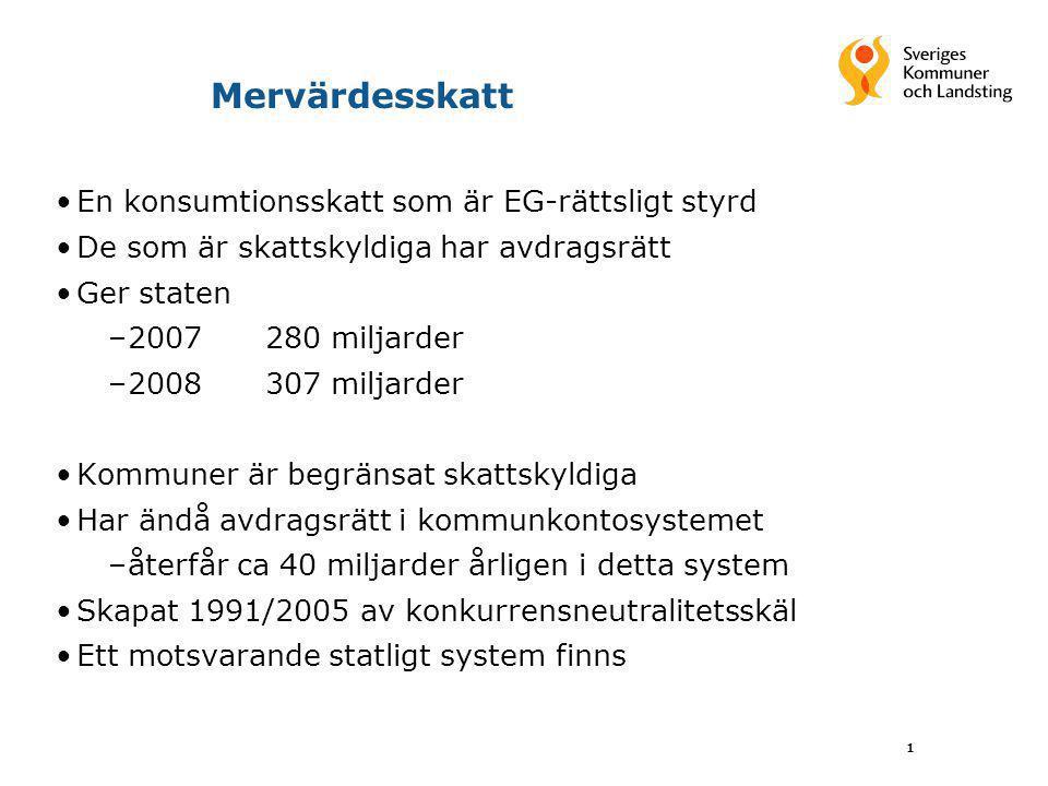 Mervärdesskatt En konsumtionsskatt som är EG-rättsligt styrd