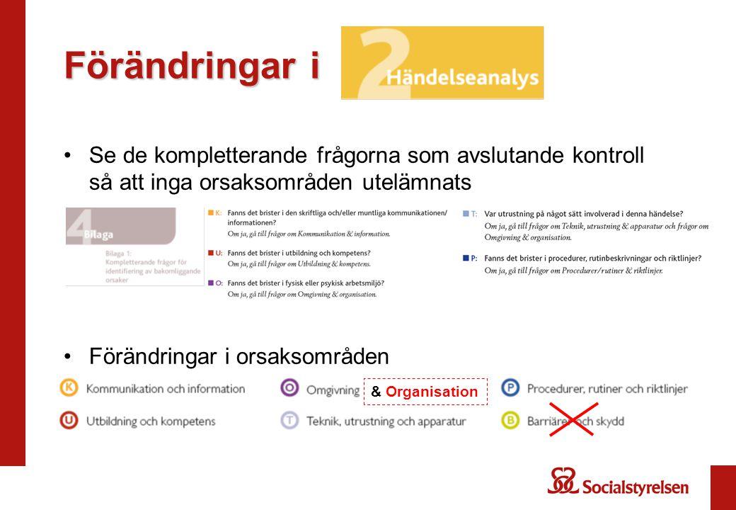 Förändringar i Se de kompletterande frågorna som avslutande kontroll så att inga orsaksområden utelämnats.
